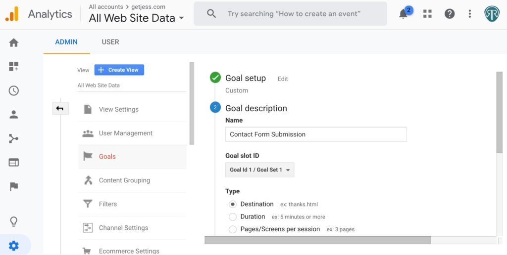 Google Analytics Goal Setup Step 2 - Goal Description