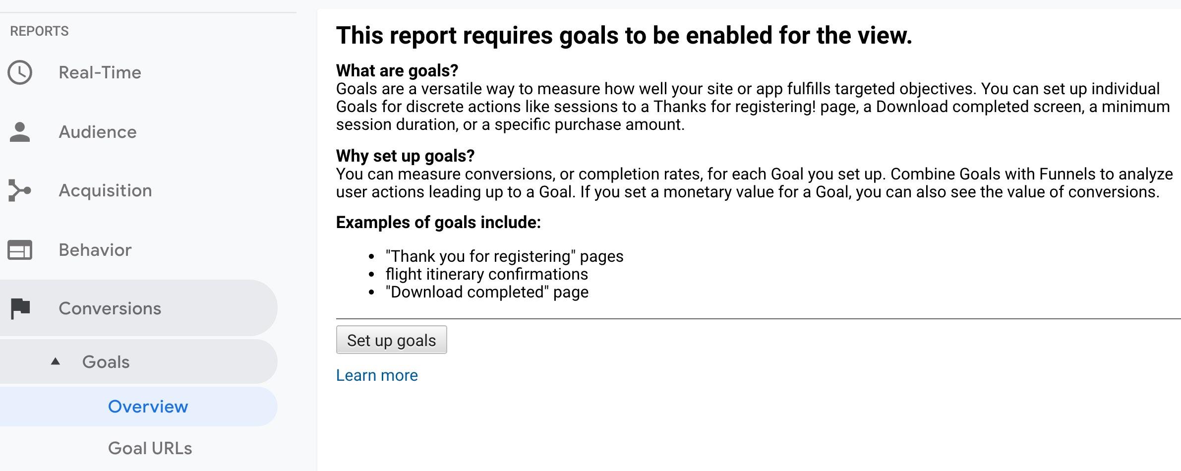 Google Analytics Enable Goals