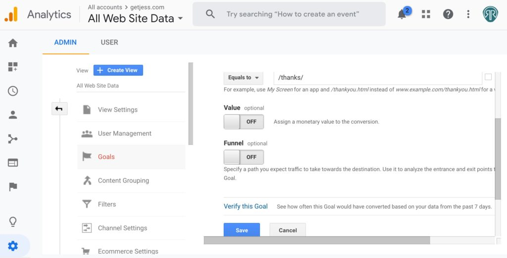 Google Analytics Destination Goal Setup