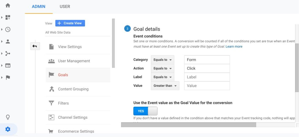 Google Analytics Goal Setup Step 3 - Goal Details