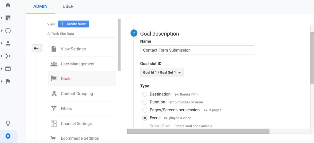 Google Analytics Goals Setup Step 2