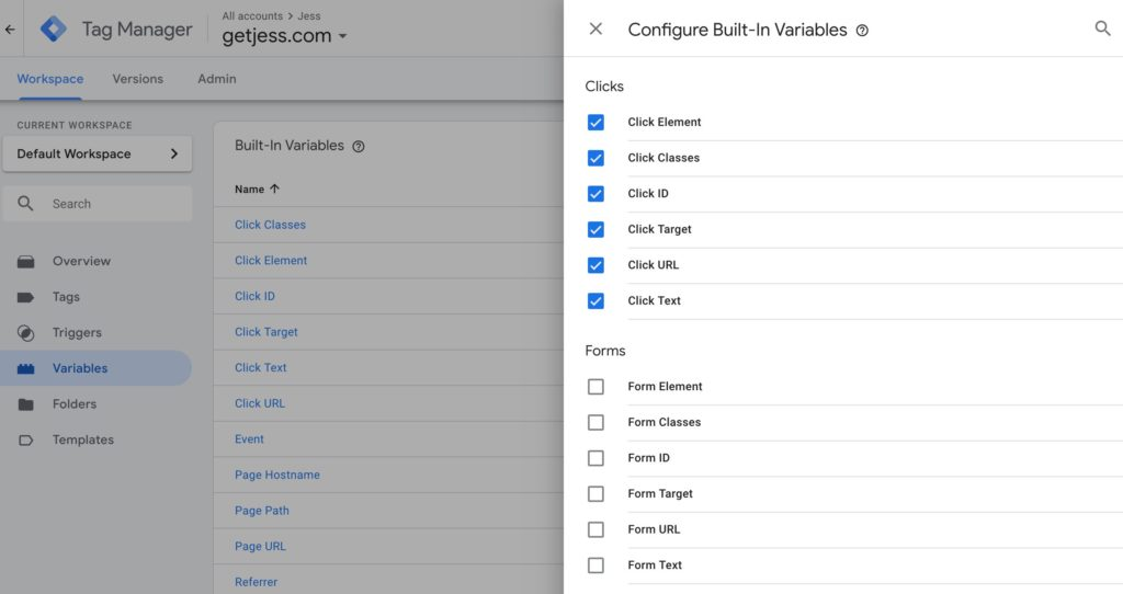 Google Tag Manager Configure Built-in Variables