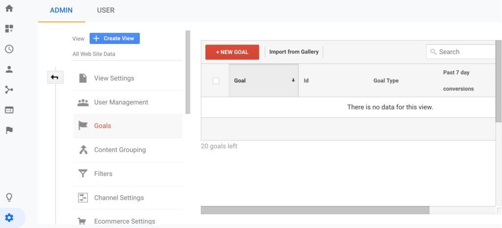 Google Analytics Goals Screen