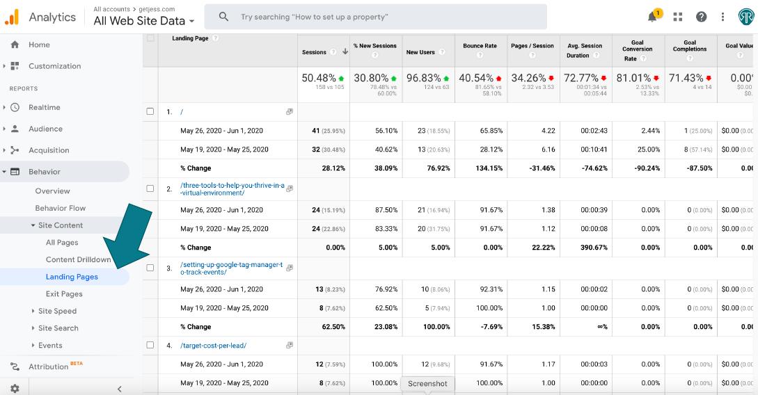 screenshot of google analytics landing pages report