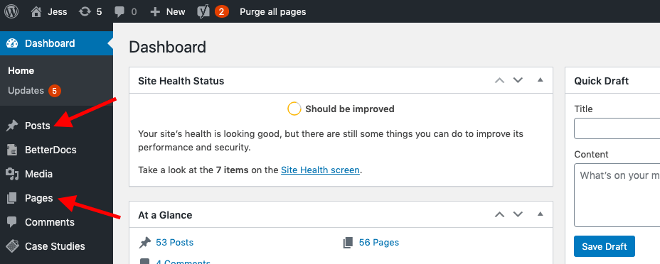 screenshot of a wordpress dashboard