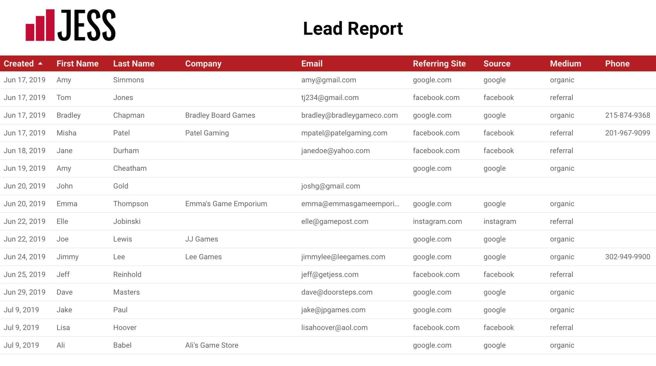 screenshot of the jess campaign leads report