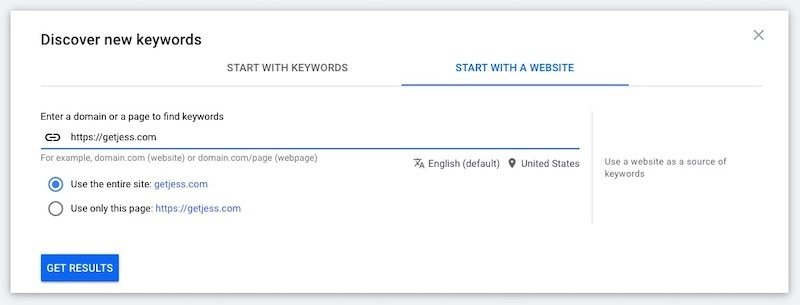 screenshot of google ads keyword planner
