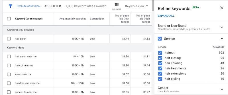 screentshot of google ads keyword planner tool