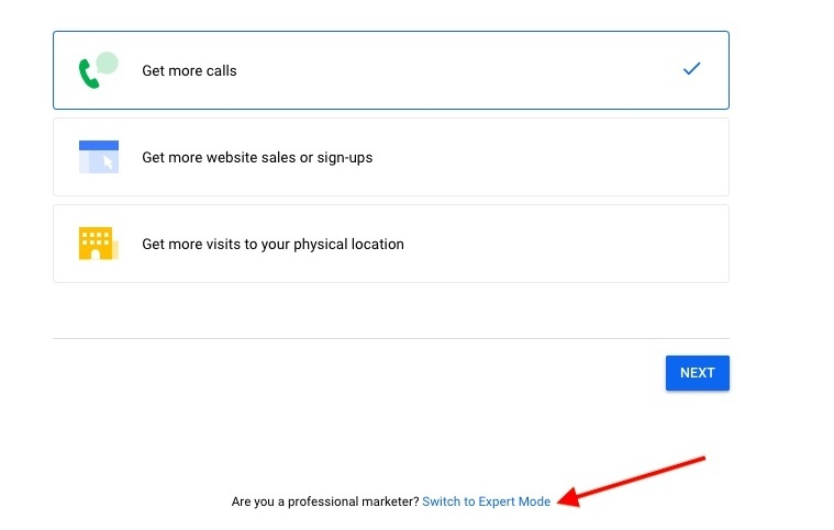 screenshot of google ads sign up page
