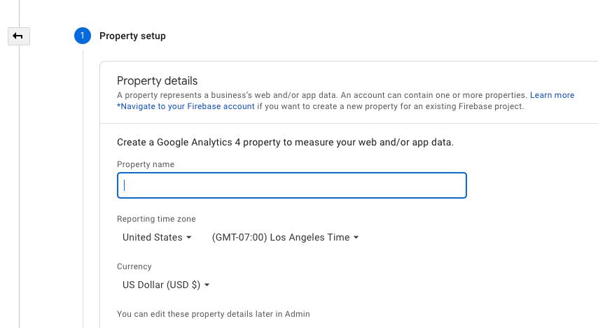 Screenshot of new property menu in Google Analytics