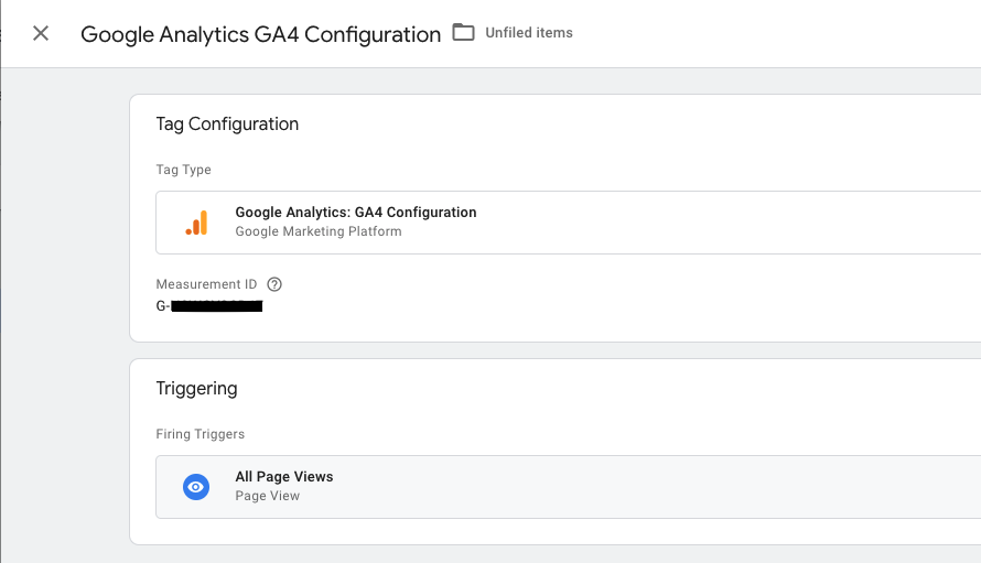 Screenshot of GA4 configuration in Google Tag Manager