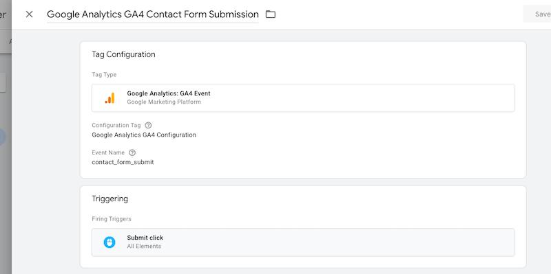 Screenshot of GTM showing GA4 conversion tag